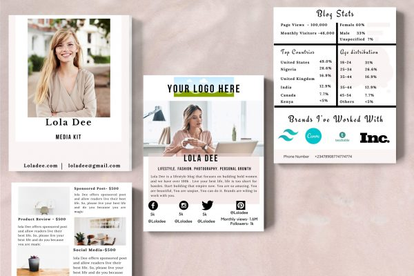 Media kit template for bloggers of all kinds