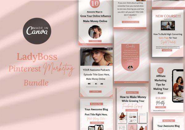 Canva Pinterest marketing pack templates-Ladyboss collection