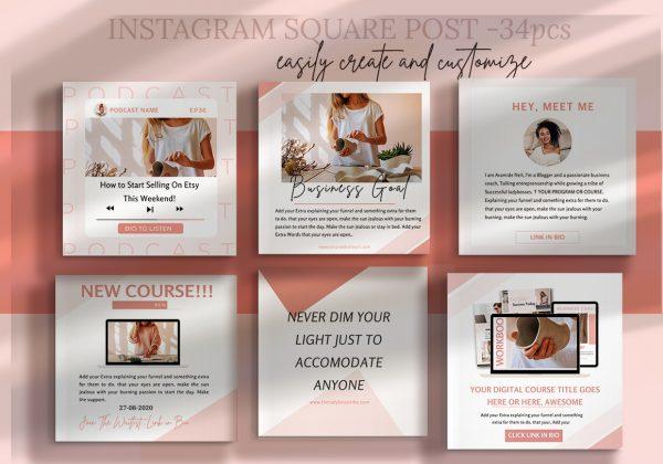 Ladyboss lead magnet marketing Bundle-instagram templates